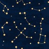 Σκοτεινό έναστρο άνευ ραφής σχέδιο νυχτερινού ουρανού Στοκ Εικόνα