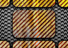 Σκοτεινό βρώμικο υπόβαθρο μετάλλων με τις γραμμές προειδοποίησης, τρισδιάστατες, illustratio Στοκ Φωτογραφία
