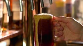Σκοτεινό γυαλί μπύρας με τον αφρό που στάζει αργά κάτω απόθεμα βίντεο