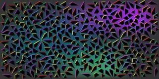Σκοτεινό διάνυσμα χρωμάτων των μικρών μαύρων τριγώνων στο ζωηρόχρωμο υπόβαθρο Απεικόνιση της αφηρημένης σύστασης των τριγώνων Σχέ Στοκ Εικόνες