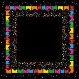 Σκοτεινό εορταστικό υπόβαθρο στο τετραγωνικό σχήμα με τα ζωηρόχρωμα εμβλήματα και ζωηρόχρωμη σύσταση σημείων γύρω από ένα διάστημ Στοκ Φωτογραφία