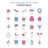 Σκοτεινό επίπεδο χρώμα εικονιδίων Χριστουγέννων - εκλεκτής ποιότητας πακέτο 25 εικονιδίων διανυσματική απεικόνιση