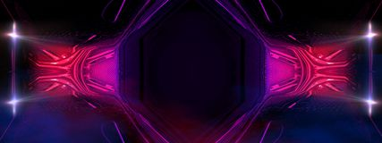 Σκοτεινό εσωτερικό με το φως νέου Αφηρημένο κενό δωμάτιο, λαμπτήρες νέου διανυσματική απεικόνιση