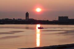 Σκοτεινό λιμάνι της Βοστώνης πρωινού Στοκ Εικόνες