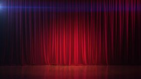 Σκοτεινό κενό στάδιο με την πλούσια κόκκινη κουρτίνα τρισδιάστατος δώστε Στοκ φωτογραφία με δικαίωμα ελεύθερης χρήσης