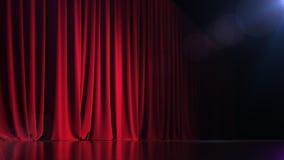 Σκοτεινό κενό στάδιο με την πλούσια κόκκινη κουρτίνα τρισδιάστατος δώστε Στοκ Εικόνες