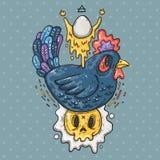 Σκοτεινό κοτόπουλο και τηγανισμένα αυγά Απεικόνιση κινούμενων σχεδίων στο κωμικό καθιερώνον τη μόδα ύφος Ελεύθερη απεικόνιση δικαιώματος