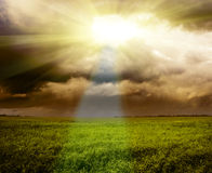 σκοτεινό λινάρι πεδίων Στοκ φωτογραφία με δικαίωμα ελεύθερης χρήσης