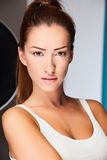 σκοτεινό μαλλιαρό lingerie μοντέλο Στοκ φωτογραφία με δικαίωμα ελεύθερης χρήσης