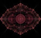 Σκοτεινό πορφυρό fractal mandala στο μαύρο υπόβαθρο Στοκ Εικόνα