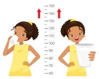 Σκοτεινό πόσιμο γάλα κοριτσιών για την υγεία και πιό ψηλός Κορίτσι που μετρά το ύψος της Στοκ φωτογραφία με δικαίωμα ελεύθερης χρήσης