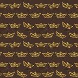 Σκοτεινό σχέδιο σκαφών εγγράφου σοκολάτας κίτρινο Στοκ Εικόνες