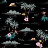 Σκοτεινό τροπικό άνευ ραφής σχέδιο νησιών στο μαύρο υπόβαθρο διανυσματική απεικόνιση