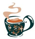 σκοτεινό τσάι θέσεων λογότυπων φλυτζανιών παρακαλώ Στοκ φωτογραφία με δικαίωμα ελεύθερης χρήσης
