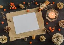 Σκοτεινό υπόβαθρο Χριστουγέννων με τα κεριά και τα μούρα της τέφρας βουνών διάνυσμα κειμένων απεικόνισης πλαισίων Άσπροι κώνοι πε Στοκ Φωτογραφίες