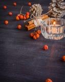 Σκοτεινό υπόβαθρο Χριστουγέννων με τα κεριά και τα μούρα της τέφρας βουνών Άσπροι κώνοι πεύκων Βελανίδια κλάδων Στοκ εικόνα με δικαίωμα ελεύθερης χρήσης