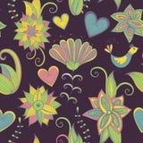 Σκοτεινό hand-drawn floral υπόβαθρο πρότυπο άνευ ραφής Στοκ Φωτογραφία