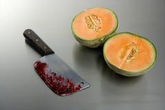 σκοτωμένο καρπός πεπόνι μαχαιριών Στοκ φωτογραφία με δικαίωμα ελεύθερης χρήσης