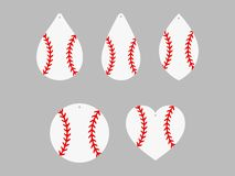 Σκουλαρίκια μπέιζ-μπώλ softball Δαντέλλα μπέιζ-μπώλ Πρότυπα σκουλαρικιών δέρματος αθλητικών σφαιρών διάνυσμα διανυσματική απεικόνιση