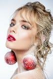 Σκουλαρίκια σφαιρών Χριστουγέννων Στοκ Εικόνα