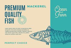 Σκουμπρί εξαιρετικής ποιότητας Αφηρημένο διανυσματικό σχέδιο ή ετικέτα συσκευασίας ψαριών Σύγχρονη τυπογραφία και συρμένο χέρι σκ διανυσματική απεικόνιση