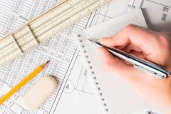 Σκουπίστε τους καθαρούς, προγραμματίζοντας μηχανικούς πλακών και τις αρχιτεκτονικές εργασίες στοκ εικόνα με δικαίωμα ελεύθερης χρήσης