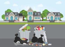 Σκουπίδια και βρώμικη περιοχή στην οδό του χωριού απεικόνιση αποθεμάτων