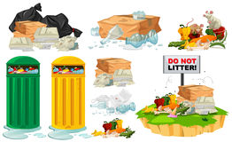 Σκουπίδια στο πάτωμα και trashcans διανυσματική απεικόνιση
