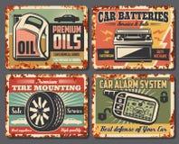 Σκουριασμένες αναδρομικές αφίσες πρατηρίων βενζίνης αυτοκινήτων αυτόματες απεικόνιση αποθεμάτων