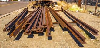 Σκουριασμένες ράγες σιδηροδρόμου στοκ φωτογραφία