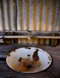 Σκουριασμένη και πελεκημένη λεκάνη πλυσίματος στον ξύλινο πάγκο στοκ εικόνες