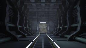 Σκουριασμένος διάδρομος sci-Fi με τις πόρτες Στοκ φωτογραφία με δικαίωμα ελεύθερης χρήσης