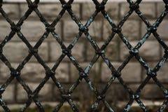 Σκουριασμένος φράκτης συνδέσεων αλυσίδων στο γκρίζο υπόβαθρο, την γκρίζα και μαύρη αφηρημένη κινηματογράφηση σε πρώτο πλάνο ενός  Στοκ εικόνες με δικαίωμα ελεύθερης χρήσης