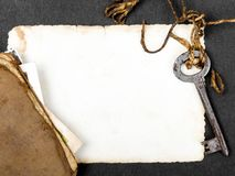 Σκουριασμένο βασικό, παλαιό βιβλίο και κενή φωτογραφία ως μεταφορά μνημών Στοκ εικόνα με δικαίωμα ελεύθερης χρήσης