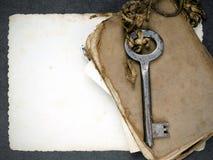 Σκουριασμένο βασικό, παλαιό βιβλίο και κενή φωτογραφία ως μεταφορά μνημών Στοκ Φωτογραφίες
