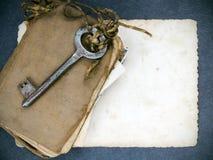 Σκουριασμένο βασικό, παλαιό βιβλίο και κενή φωτογραφία Στοκ εικόνα με δικαίωμα ελεύθερης χρήσης