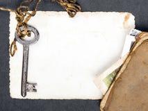 Σκουριασμένο βασικό, παλαιό βιβλίο και κενή φωτογραφία Στοκ φωτογραφία με δικαίωμα ελεύθερης χρήσης