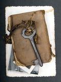 Σκουριασμένο βασικό, παλαιό βιβλίο και κενή φωτογραφία Στοκ εικόνες με δικαίωμα ελεύθερης χρήσης