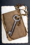 Σκουριασμένο βασικό, παλαιό βιβλίο και κενή φωτογραφία Στοκ Εικόνες