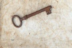 Σκουριασμένο κλειδί στην παλαιά περγαμηνή Στοκ Εικόνες