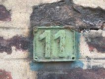 Σκουριασμένο πιάτο των αριθμών οδού Στοκ Εικόνες