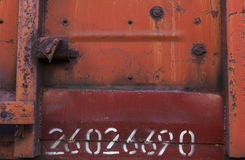 Σκουριασμένο υπόβαθρο σύστασης μετάλλων με τον αριθμό Στοκ Φωτογραφία