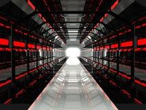 Σκούρο κόκκινο φουτουριστικός διάδρομος Στοκ εικόνες με δικαίωμα ελεύθερης χρήσης