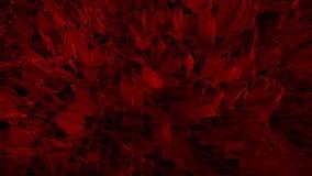 Σκούρο κόκκινο χαμηλή πολυ επιφάνεια κυματισμού ως cyber υπόβαθρο Σκούρο κόκκινο polygonal γεωμετρικό δομένος περιβάλλον ή να κυμ απόθεμα βίντεο