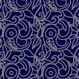 Σκούρο μπλε και άσπρο άνευ ραφής σχέδιο με την κεντητική Στοκ εικόνες με δικαίωμα ελεύθερης χρήσης