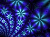 Σκούρο μπλε και ανοικτό μπλε κυκλικές μορφές με fractal φλογών starbursts απεικόνιση αποθεμάτων