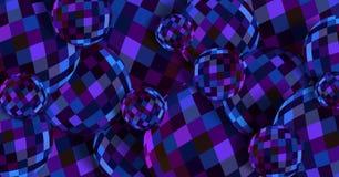 Σκούρο μπλε πορφυρή τρισδιάστατη απεικόνιση σφαιρών γυαλιού Αφηρημένο δημιουργικό υπόβαθρο Σύσταση κρυστάλλου Gleaming διανυσματική απεικόνιση
