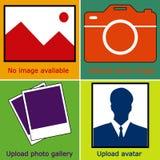 Σκούρο μπλε σύνολο καμίας εικόνας διαθέσιμης, καμία φωτογραφία: κενή εικόνα, κάμερα, εικονίδιο φωτογραφίας και silhouet Στοκ Εικόνες