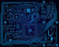Σκούρο μπλε βιομηχανικός ηλεκτρονικός πίνακας κυκλωμάτων vect απεικόνιση αποθεμάτων