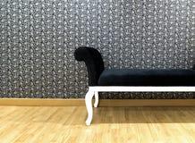 Σκούρο μπλε καναπές στο καθιστικό Στοκ Φωτογραφία